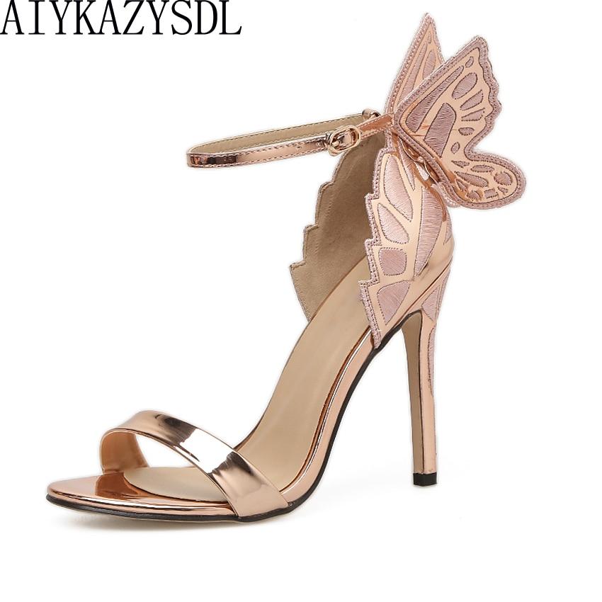 AIYKAZYSDL-صندل نسائي بكعب عالٍ ، حذاء بكعب عالٍ بتطريز جناح فراشة ثلاثي الأبعاد ، خنجر معدني ، فستان حفلات الزفاف