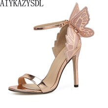 AIYKAZYSDL femmes sandales 3D papillon aile broderie sandales chaussures à talons hauts femme pompes métallique Stiletto robe de soirée de mariage