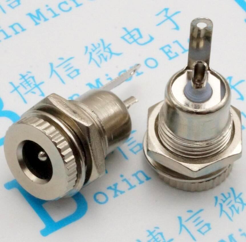18 piezas de alimentación de CC de salida DC-099 5,5*2,1/5,5*2,5 30VDC 5A socket latón rosca de alta enchufe hembra de metal completo de carga de corriente