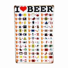 I LOVE BEER MENU de bière Vintage   Signes en étain métallique, Art rétro, peste pour Bar Restaurant, décor métal peinture murale, autocollants N039