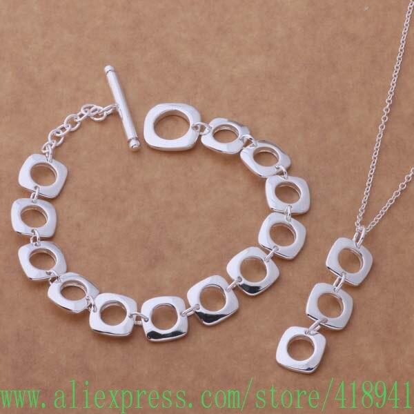 Juegos de pulseras de joyería chapada en plata 163 + collar 239/eemamvta bfoajwva AS218