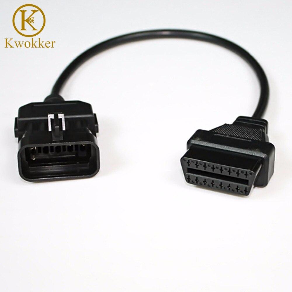 Kwokker obd cabo para vauxhall/opel 10 pinos para 16 pinos obd 2 extensão do carro ferramenta de diagnóstico adaptador conector cabo boa qualidade