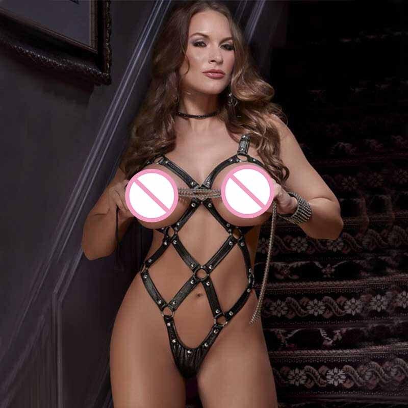 Womens PU Leather Strappy Fetish Body Harnas Halter Hals Teddybeer Lingerie Cupless G-String Bodysuit Erotische Kostuum Lingerie Set