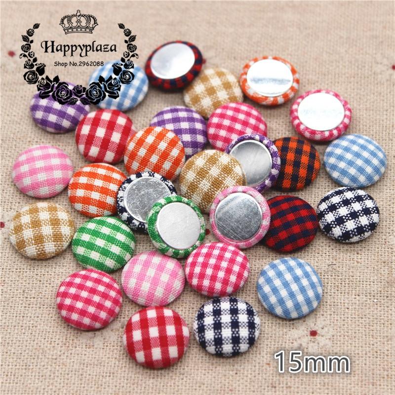 50pcs 15mm Cute Lattice Fabric Covered Round Buttons Home Garden Flatback Cabochon Crafts Scrapbook DIY