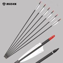 6/12/24pcs 30 Inches Mixed Carbon Arrow Diameter 7.8 mm Replaceable Arrowhead Suit Recurve/Compound Bow for Outdoor Archery