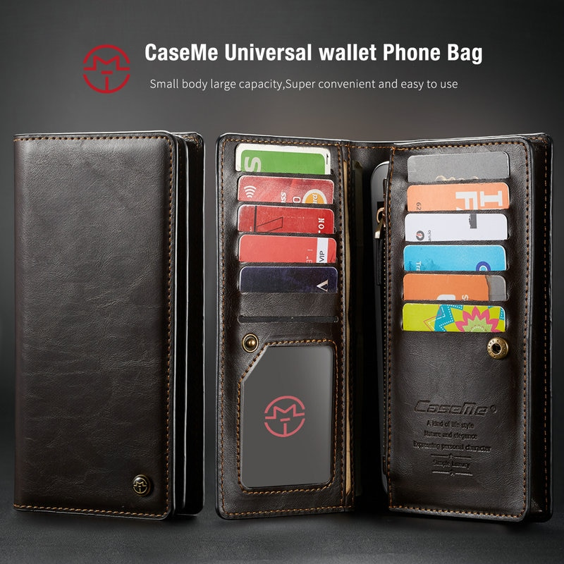 CaseMe Case For SONY Xperia XA1 Universal Wallet Leather Case For SONY X X4 XZ2 Z3 Credit Card Zipper Phone Bag Phone Pouch