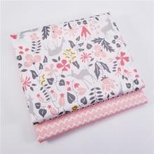 Tissu de cerf 100% coton 2 pièces/lot   Tissu en sergé imprimé Patchwork de cerf pour bricolage, couture et Quilting, matériaux pour bébés et poupées