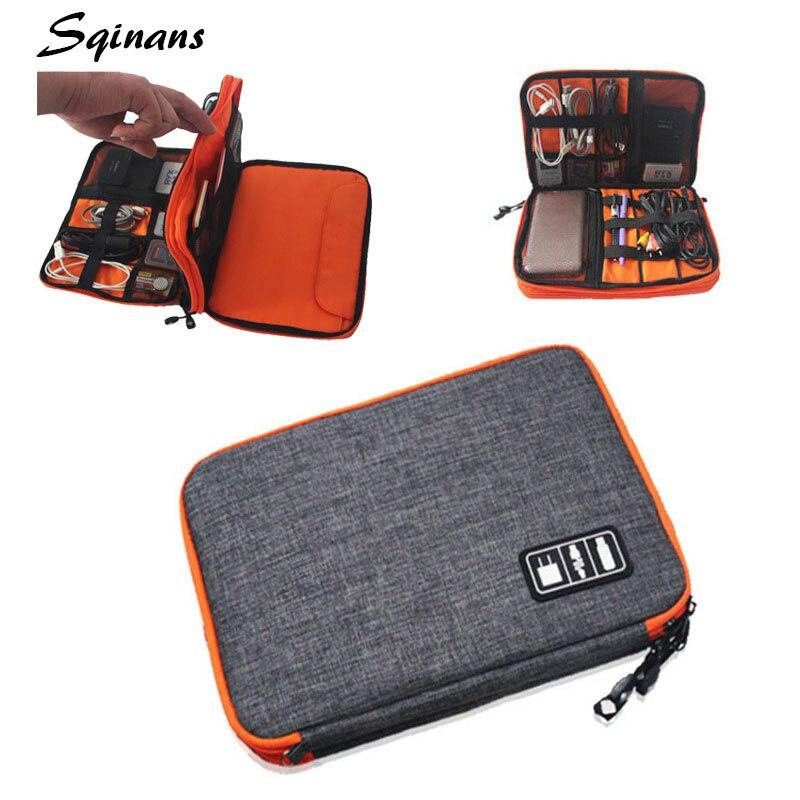 Sqinans 2 capas USB Digital Cable organizador bolsa de viaje bolsa de...