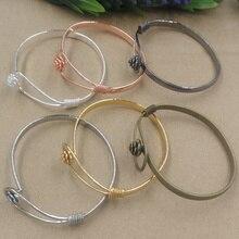 10 pièces 60mm fleur pédale Antique Bronze/or/argent/noir Bracelet Vintage cuivre Bracelet bricolage à la main bijoux accessoires