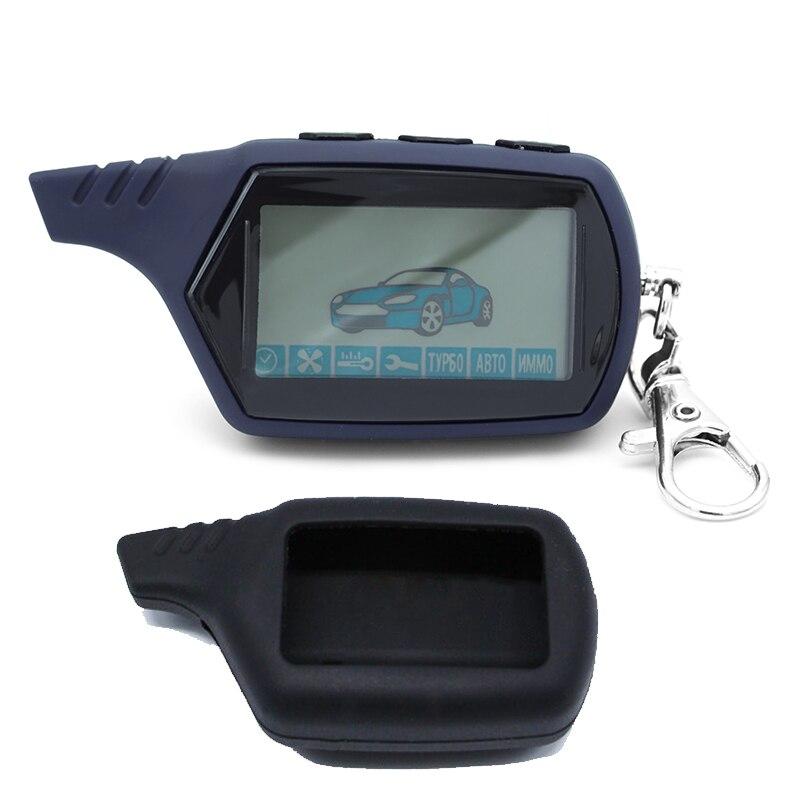 10 pçs lcd controle remoto 2 vias chave de alarme carro para starline 91 motor starline a91 chaveiro corpo remoto + silicone caso