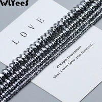 wlyees plating silver hematite beads faceted flat round natural stone 3 4 6 8 10mm loose beads for diy jewelry bracelet making