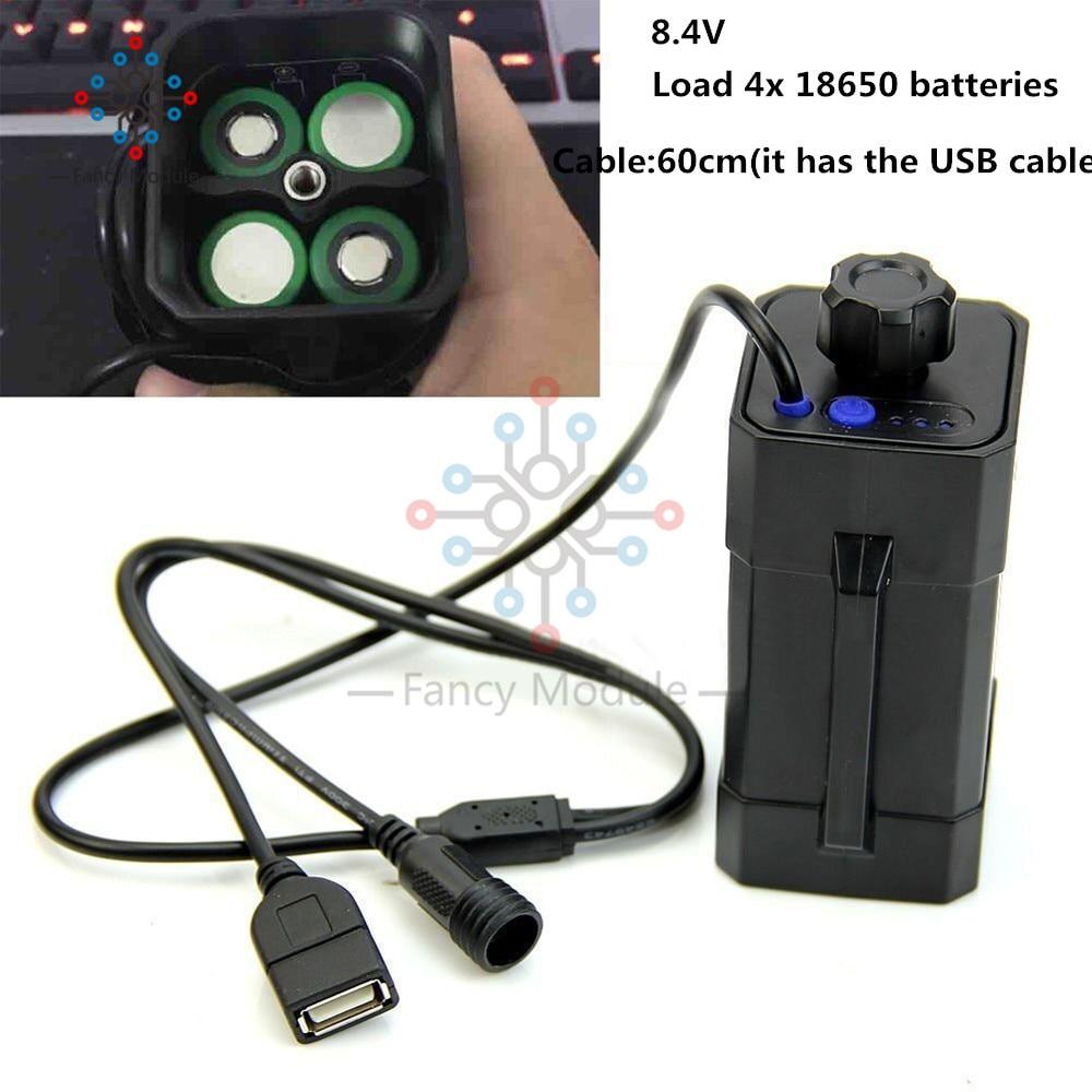 4x18650 ciclismo segurança à prova dwaterproof água bateria led indicador caixa de bateria de lítio caso para bicycletail luz