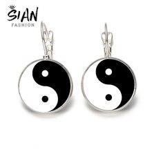 SIAN Classic Tai Chi Yin Yang pendientes de gota blanco negro Yin Yang ocho Diagrama de vidrio redondo pendiente taoismo signo Simple daWanda joyas y bisutería joyería