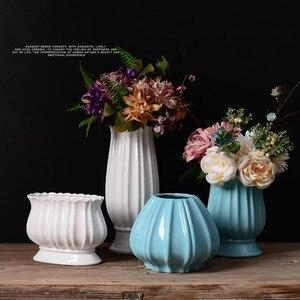 Ceramic vase simple European retro white blue flower home decoration ornaments gift