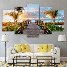 Cadre de photos modulaire   Décoration de maison moderne, impression HD, 5 panneaux, planche de côte, palmiers de plage, salon, peinture murale, toile dart