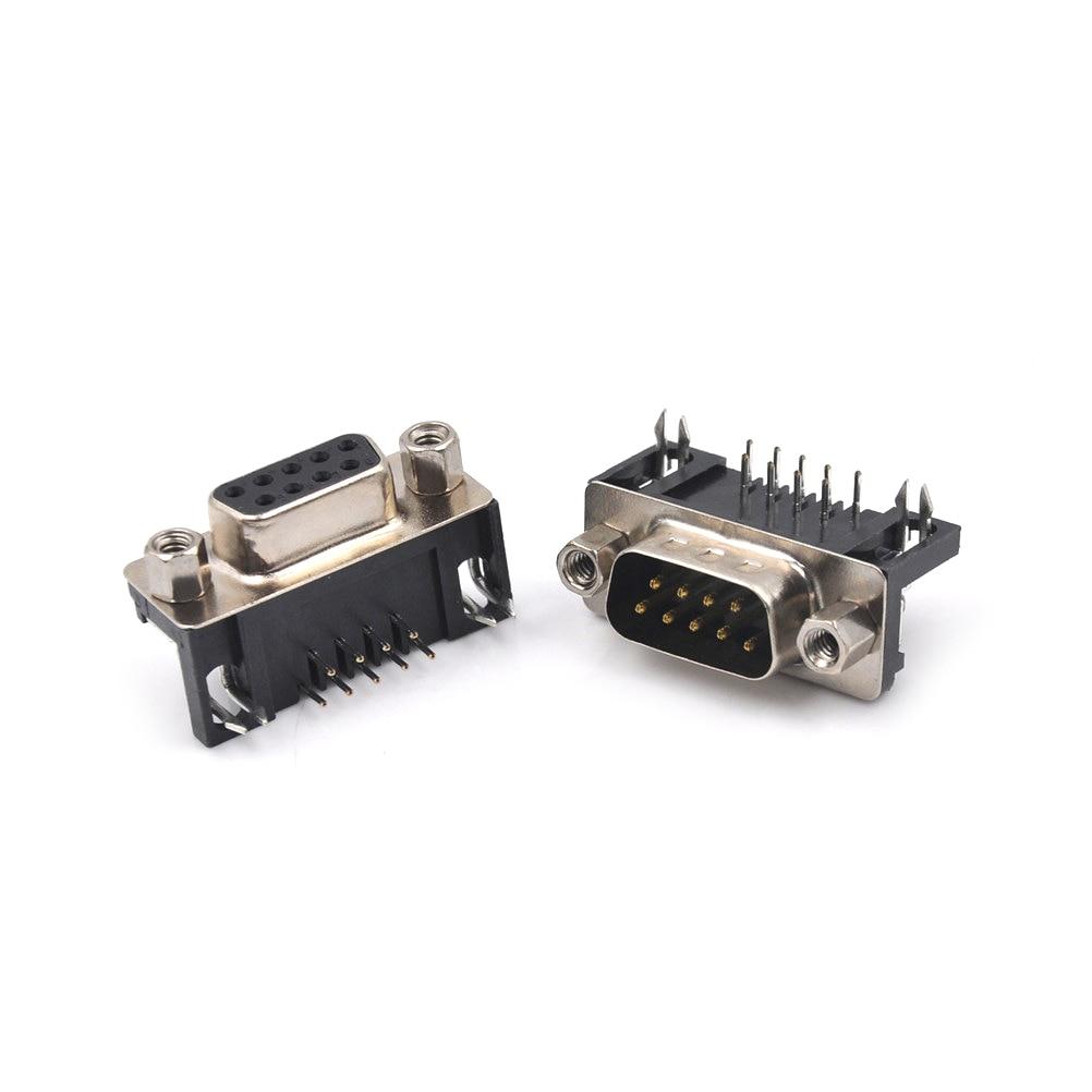 Un par DB9 conector DR9 hembra Flapper hembra agujero Horizontal DR-9S 90 grados Looper / Serial DB9 hembra RS232 9-core