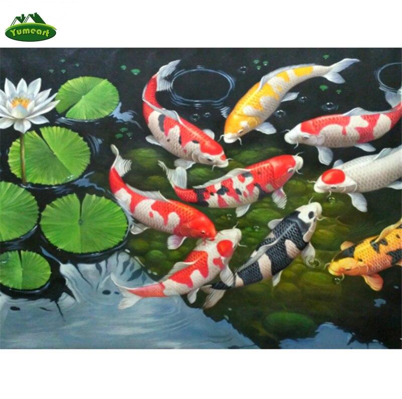 YUMEART Handicrafts Diamond Embroidery Carp Pond DIY Diamond Painting Fish and Lotus Flower Cross Stitch Rhinestone Mosaic Decor