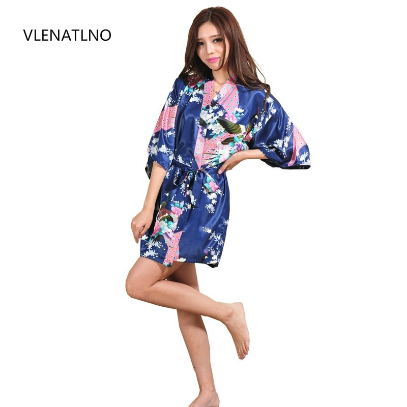 Satén de seda boda novia dama de honor manto Floral bata Kimono corto traje de noche traje de baño de moda vestido para las mujeres