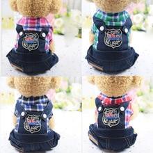 Vêtements pour chiens chat chiot chat   Vêtements avec treillis à quatre jambes, en Jeans, vêtements de printemps et dautomne, nouvelle collection
