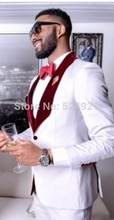 Brand New Groomsmen White Groom Tuxedos Shawl Velvet Lapel Men Suits Wedding Best Man Blazer ( Jacket+Pants+Tie+Vest ) C288