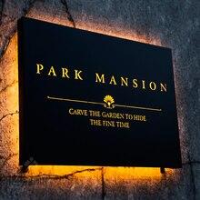 Panneau de sortie dextérieur   Panneau rétro-éclairé en acier inoxydable 304, panneau de Bar de magasin hôtel, Design personnalisé avec dessin