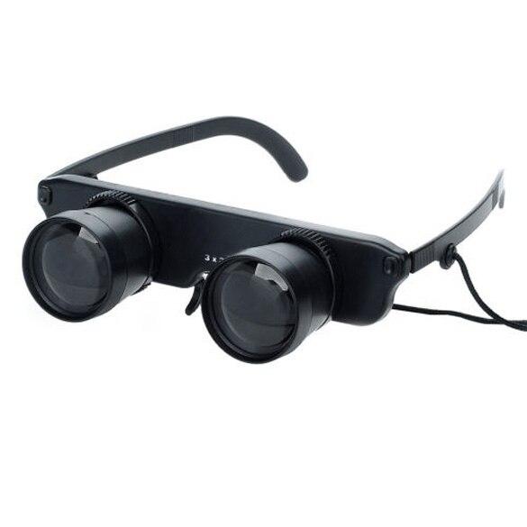 New and High Quality 3x28 Glasses Style Fishing Binoculars Telescope Black  SS