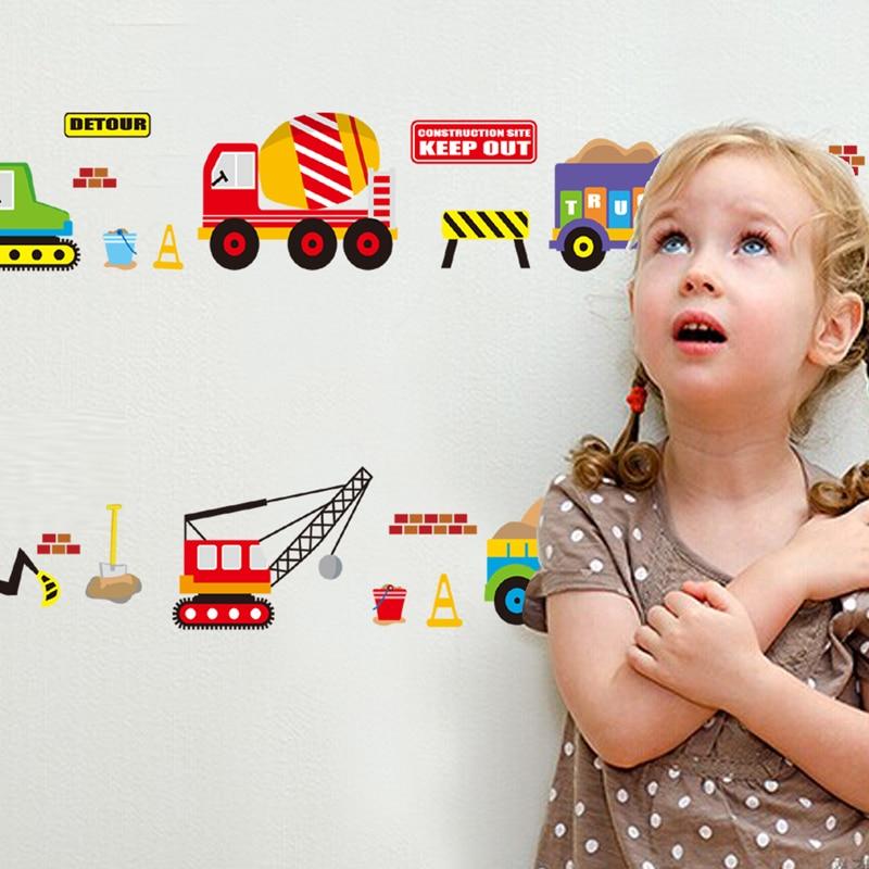 Купить с кэшбэком Cartoon cars kids room wall sticker for Children's room baby bedroom wall decals window poster 3D car stickers wallpaper