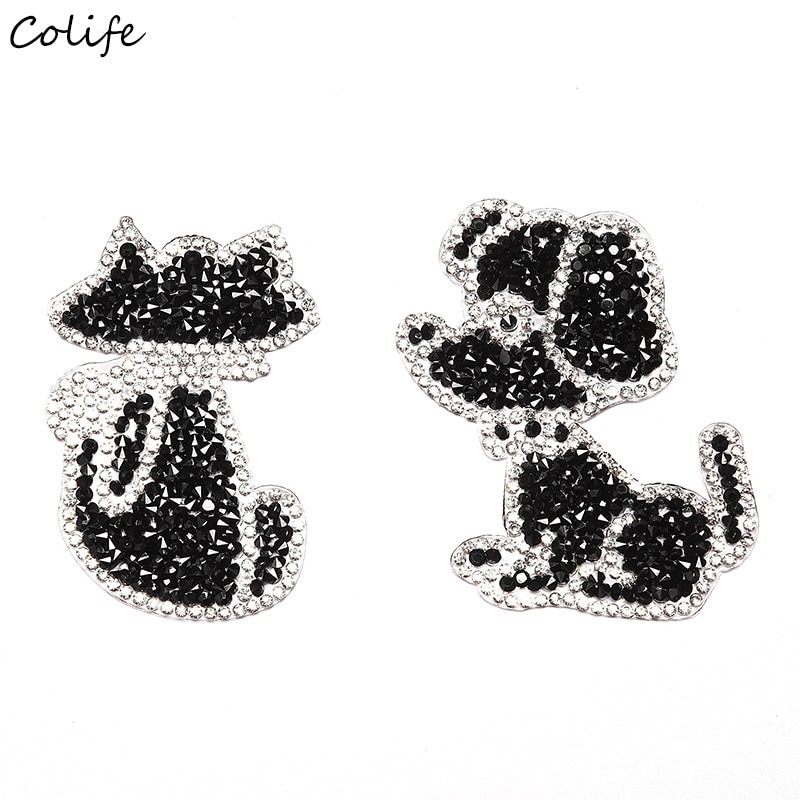 Cute Animal Dog Rhinestone Cloth Patches DIY Black Cat Cartoon Patch For Clothes Stickers Badge Jeans Shoes