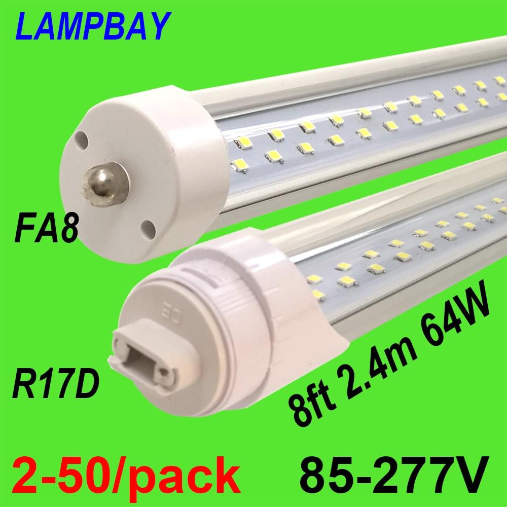 2 25pcs led tube light 8 foot 2 4m t8 integrated bulb fixture 40w 48w 8ft bar lighting wall lamp with fittings 110v 220v 277v 2-50/pack Double Row LED Tube Light 8ft 2.4m Super Bright Bulb FA8 R17D(HO) Rotated F96 T8 T12 Fluorescent Lamp Bar Lighting