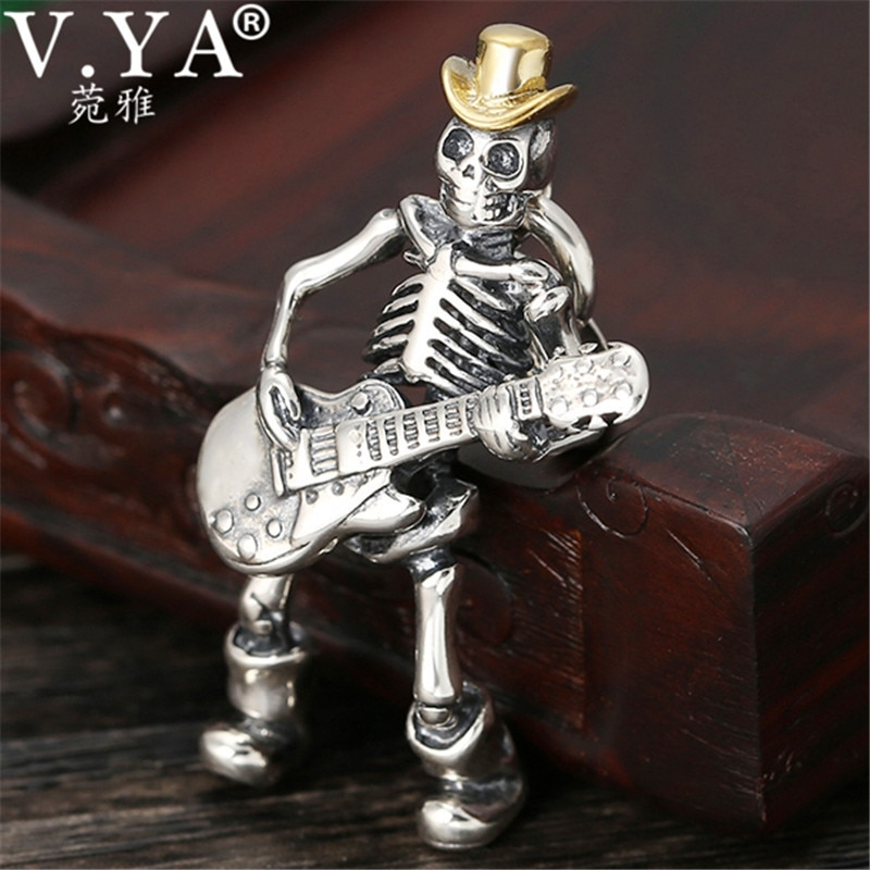 V.YA 925 Sterling Silver Pendants for Men Cute Soul Guitarist Skull Jewelry Male Men's Pendant Fashion Gifts
