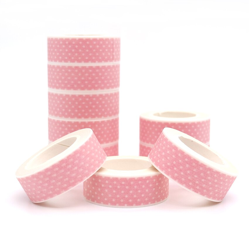 10m*15mm Pink Washi Tape DIY Masking Tape Decoration Scrapbooking Adhesive Tape Kawaii Stationery 1 PCS