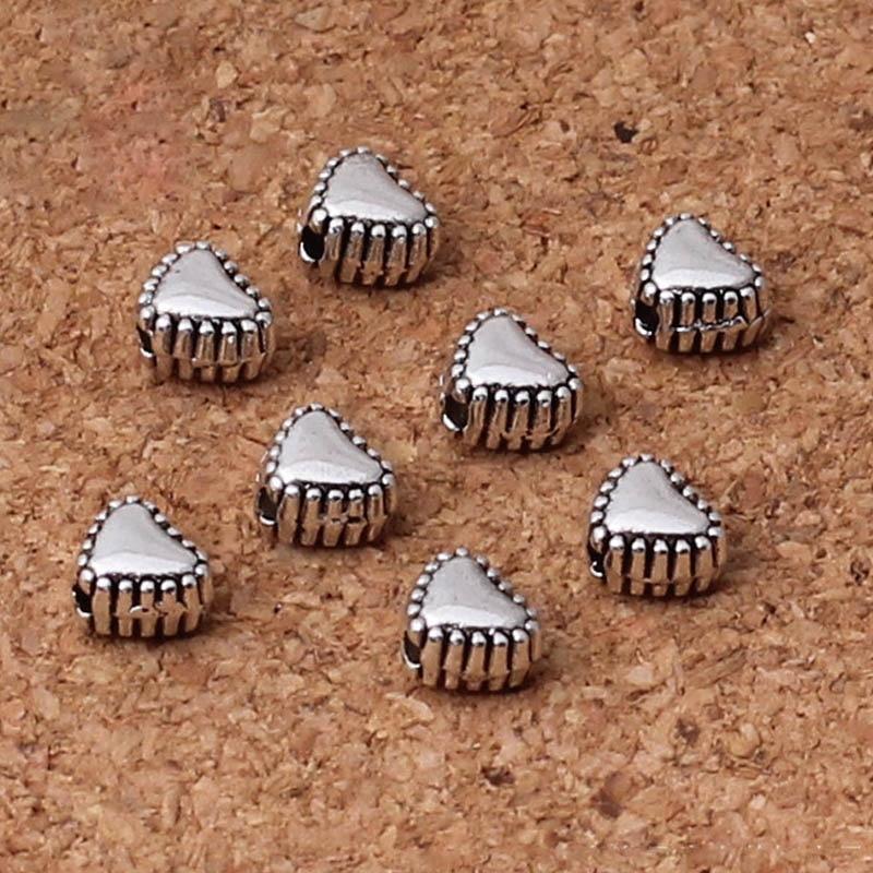 50pcs/lot Tibetan Silver Metal Heart Beads 6x5x4mm Vintage Beading Spacer Findings DIY Women Jewelry Making Bracelets Necklace
