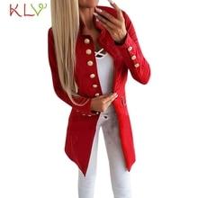 Women Jacket Winter Long 2018 Office Lady Lapel Suit Button Coat Plus Size Ladies Chamarra Cazadora Mujer Coat For Girls 18Oct24