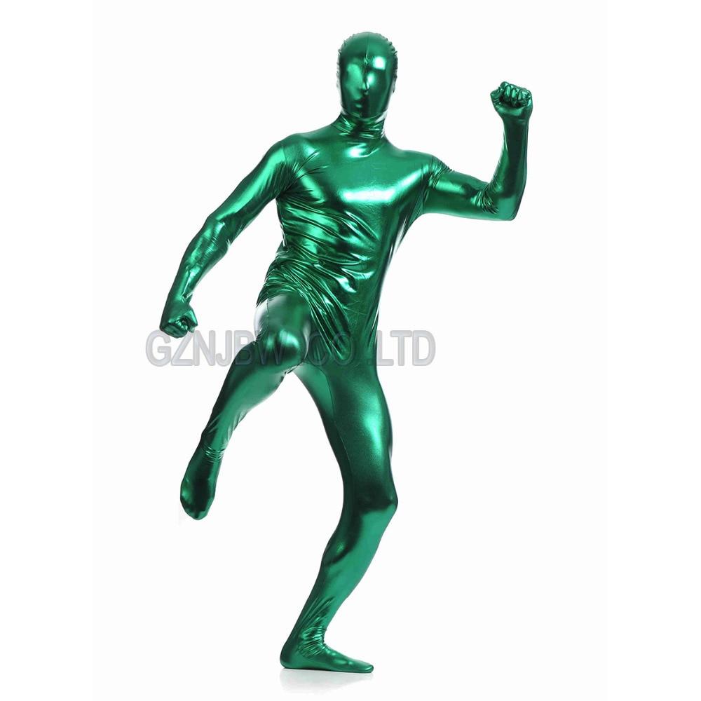 Adultos hombres de cuero metálico verde oscuro brillante piel completa Zentai Cosplay traje disfraz de Halloween mono leotardo