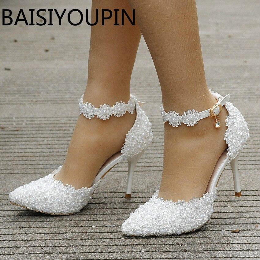Zapatos blancos de encaje con flores para boda para mujer, zapatos de novia con hebilla de una palabra, tacones finos para mujer, Sandalias de tacón alto, talla grande 41 42