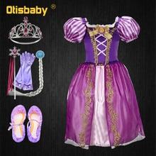 Robe de noël princesse raiponce filles   Costume dhalloween emmêlé, perruque raiponce pour enfants en bas âge, fête danniversaire