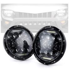 Par Marlaa 7 pulgadas redondo 75w faro proyector LED con DRL blanco para Wrangler JK TJ LJ CJ motocicleta