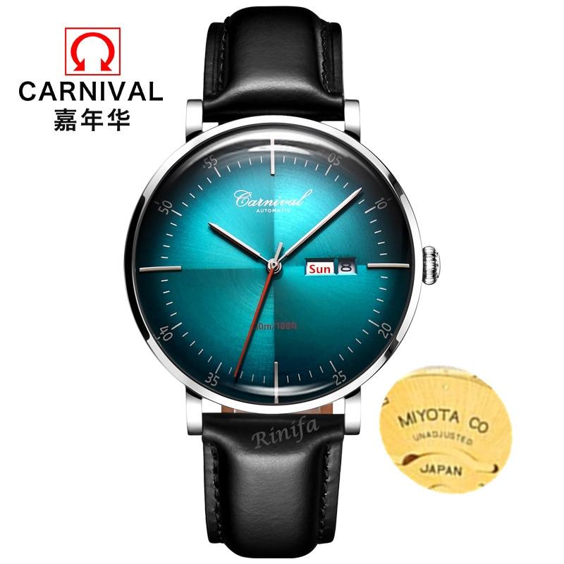 Carnival automatic men watch luxury brand MIYOTA mechanical watches men genuine leather clock uhr kol saati reloj hombre relogio
