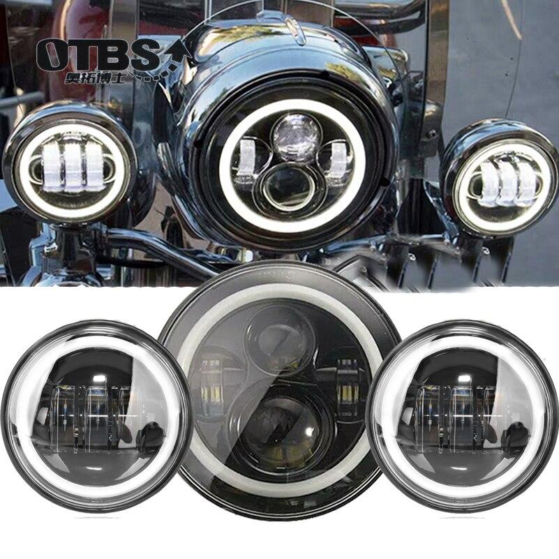 Светильник для мотоцикла Harley Electra Glide Softail Fat Boy Touring, 7-дюймовый двигатель для Harley, светодиодная фара с противотуманными фарами 4,5 дюйма