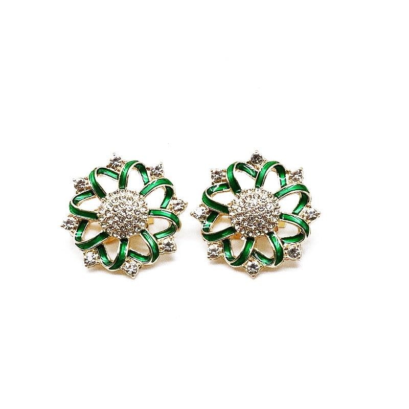 Free Shipping Green Enamel Flower Earring European Female Brincos
