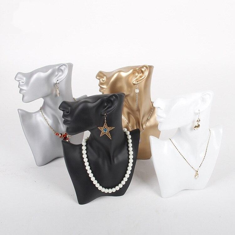 TONVIC negro/Blanco/oro/plata collar de resina juego de pendientes soporte de exhibición busto