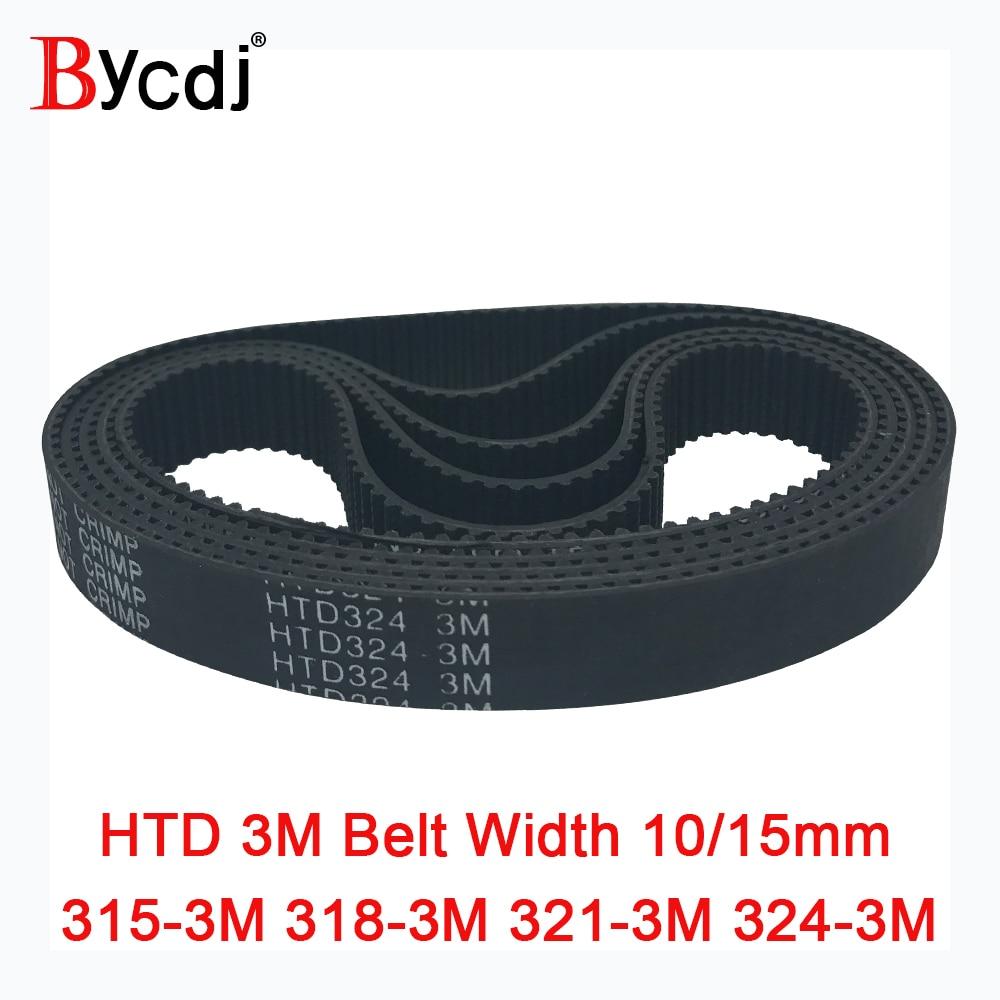 Correa de distribución Arc HTD 3M C = 315 318 321 324, ancho 6-25mm, Teeth105 106 107 108 HTD3M, pulle315-3M síncrona 318-3M 321-3M 324-3M