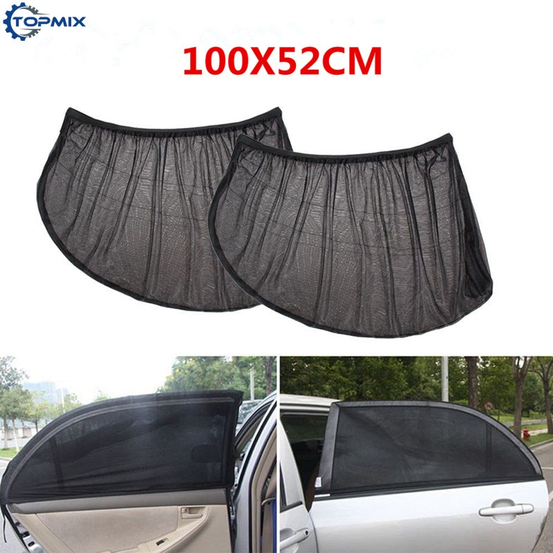 2PC Car Rear Window Sunshade 100*52cm Black Auto Exterior Car Curtain Windshield Solar Protection Sunshade Shield Car Covers