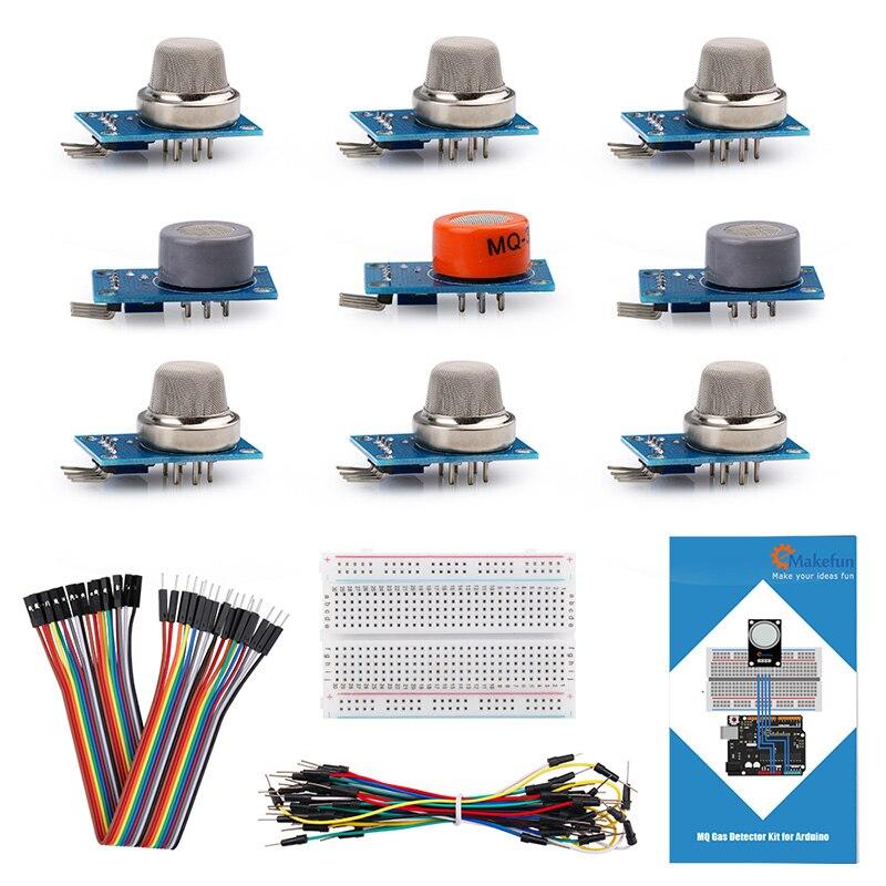 Sensor de gás básico MQ-2 MQ-3 MQ-4 MQ-5 MQ-6 MQ-7 MQ-8 MQ-9 MQ-135 kit sensor para arduino starter kit detecção gás com tutorial