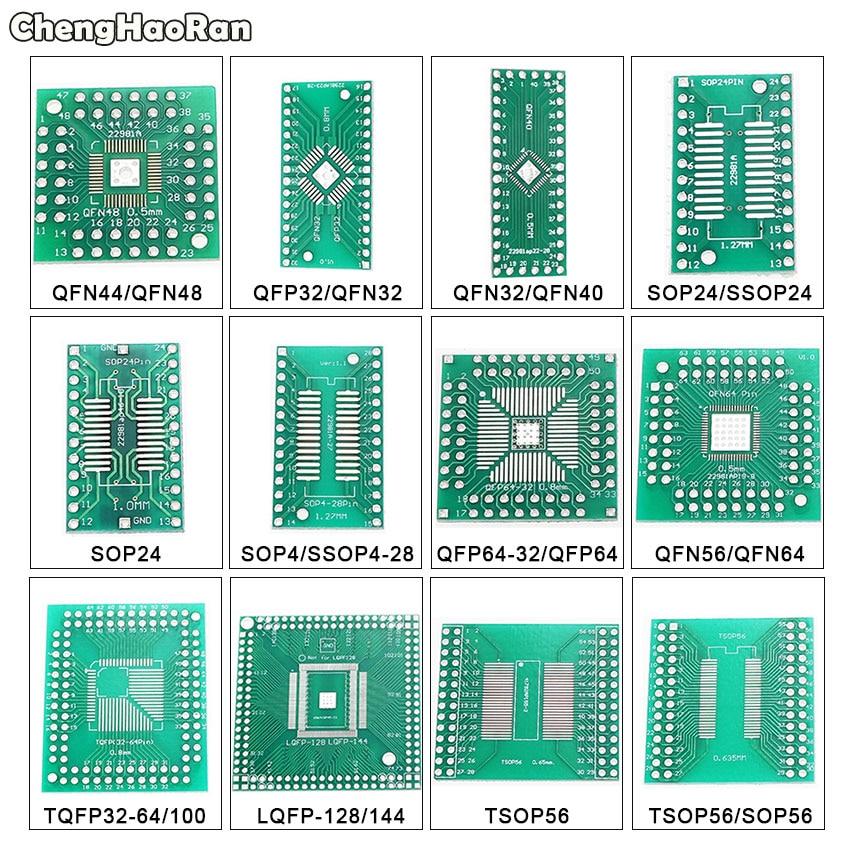ChengHaoRan QFN44 48 QFP32 SOP24 SSOP24 QFP64 QFN64/40 TSOP56 A DIP PCB placa de transferencia DIP 24/32/40/48 Pin adaptador de placa de paso