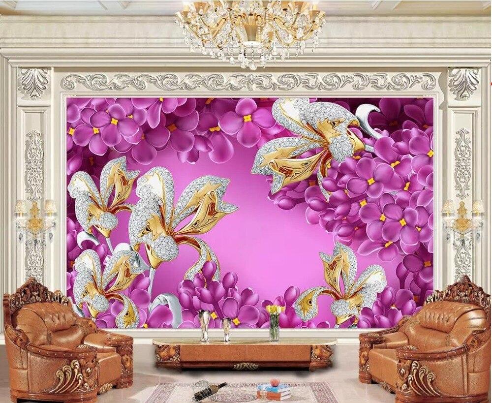 3d photo wallpaper custom mural Purple Lavender Diamond Jewelry Lily home decor 3d wall murals wallpaper for walls 3 d