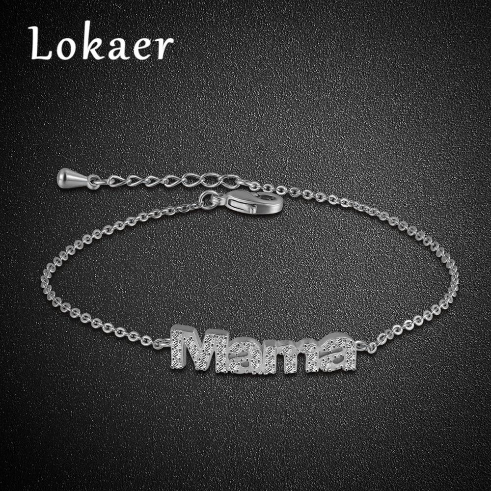 Lokaer Fashion Femme Simple Design Classic Pave Setting Rhinestone Mama Bracelet Bangle Jewelry Gift For Mather Pulsera