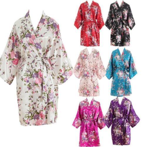 2019 vestido de verano para mujer, con estampado Floral de novia vestido largo, bata de noche de seda satinada, albornoz, Kimono, Mini vestido de fiesta, Vestidos