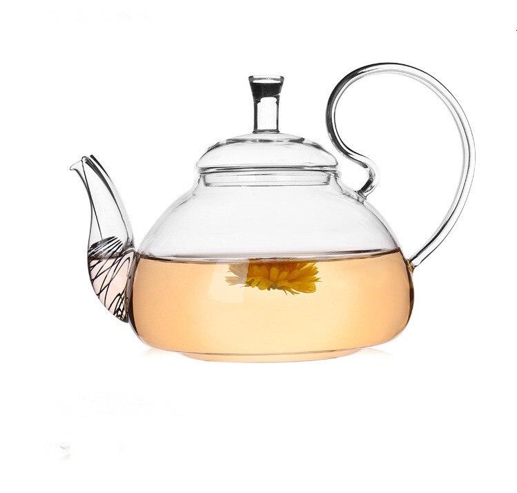 1 шт., элегантный цветочный кофейный стеклянный чайник, Стеклянные Чайники, термостойкие Стеклянные Чайники Gongfu, чайник с чайным фильтром JN ...