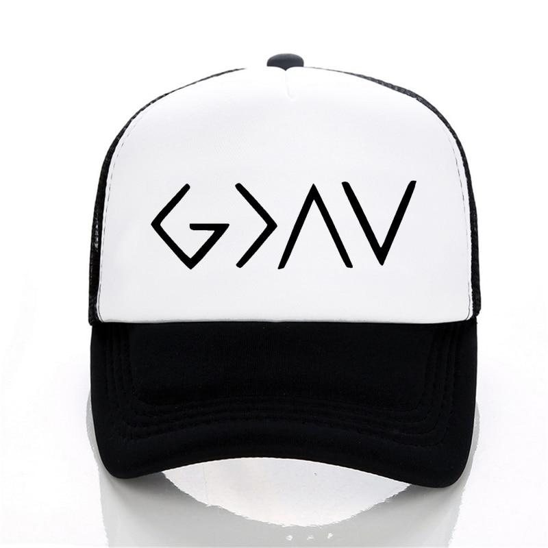 Men's God Is Greater symbols print hat Christian God Specific Symbols Band Male Fashion Mesh trucker Baseball Caps